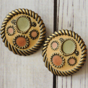 fun vintage large round clip earrings